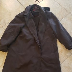 Brown lined long hooded coat